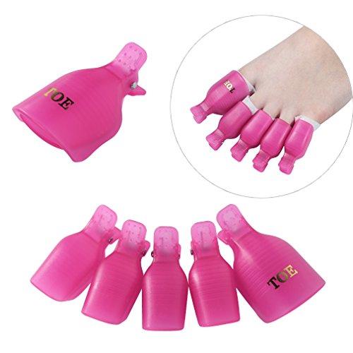 Elite99 5pcs Wearable Toenail Soaker Clip Caps UV Gel Polish Remover Clamp Manicure Easy Remove Lacquer Tips Wrap Tool (Enamel Remover)