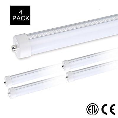"8ft Led Tube Light T8 T10 T12 8' Bulbs Fluorescent Replacement, ETL 40W 96"" FA8 Single Pin HO Socket Bulbs, Forsted Cover, 4000LM AC85-277V 6500K Daylight (4 Pack)"