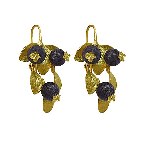 (Blueberry Wire Drop Earrings in Gold Plate by Michael Michaud)