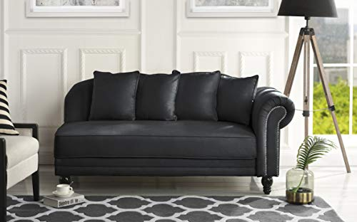 Black Chaise Lounge - Large Classic Velvet Fabric Living Room Chaise Lounge with Nailhead Trim (Black)