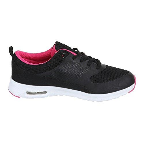 Ital-Design - Zapatillas de Material Sintético para mujer Negro - Schwarz Pink