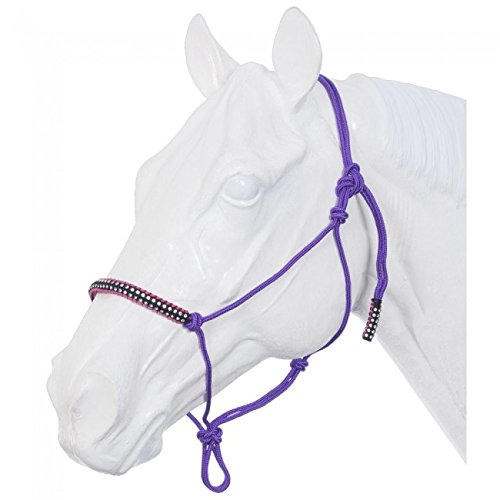 Tough-1 Poly Rope Tied Halter with Crystal Accents - 50 Sheet Raspberry