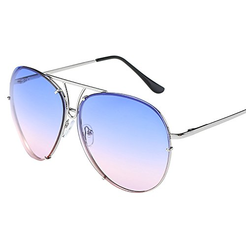 (Beautyfine Big Large Luxury Mirrored Glasses Women Man Oversized Aviator Sunglasses Flat Top)