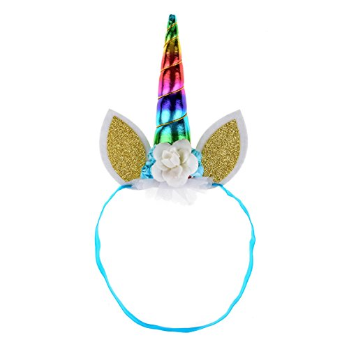 DDazzling Unicorn Headband Unicorn Birthday Rose Flower Headband Unicorn Party Unicorn Photo Props (Rainbow) by DDazzling (Image #1)