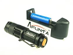 Afunta® 300LM 7W Mini LED Torch CREE Q5 LED Flashlight (With Rechargeable Battery & Charger) by Afunta®