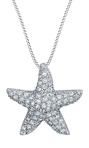 AFFY Micro Pave White Cubic Zirconia Mini Starfish Pendant Necklace in 14k White Gold Over Sterling (Pave Starfish Pendant)