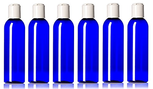 White Bullet Bottle - Newday Bottles, Plastic Bottle 4 Oz Cobalt Blue PET Cosmo Bullet Round BPA-Free with Hand Press Smooth White Disc Cap Lid, Pack of 6