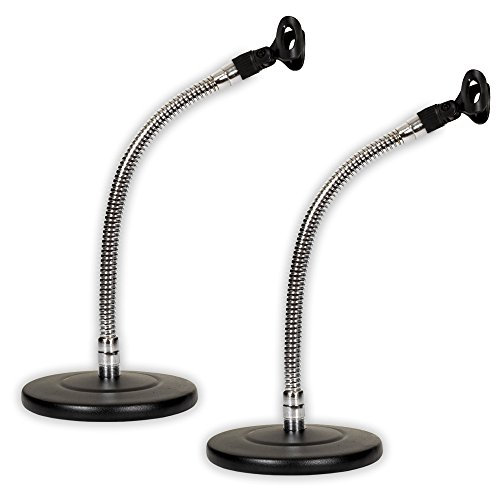 Gooseneck Set - Podium Pro MS3 Tabletop Microphone Stands and Mic Clips Gooseneck DJ Podcast 2 Stand Set MS3MC2-2S