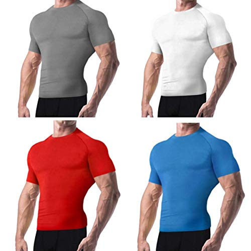 Copper Compression New Colored Short Sleeve Shirt - Guaranteed Best Copper + Zinc Mens T-Shirt with Infused Fit. Support Stiff & Sore Muscles. Basketball, Football, Sports Wear (Medium - Grey) ()