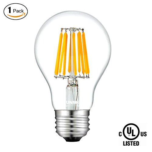100w 130v A19 Medium Base (SUNMEG Vintage LED Filament Bulb A19, Replacement to 100w Incandescent Bulbs, 1000 Lumens, E26 Medium Base Edison Bulb, Warm White (2700K), 120VAC, Non-dimmable (1- Pack))