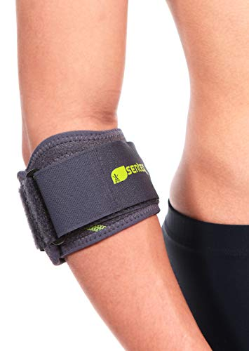 (SENTEQ Elbow Brace Support Strap for Tendonitis and Forearm Pain Relief. Tennis & Golfer's Elbow Band with Dual Later Compression, Gel Pad and Wide Adjustable Strap)