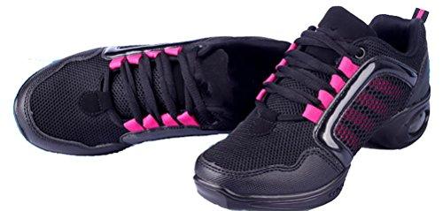 Abby 992b Womens Low Top Jazz Quadrato Moderno Hip-hop Pratica Danza Punta Rotonda Lace Up Scarpe Sneakers Piatte Rosa (basso Top)