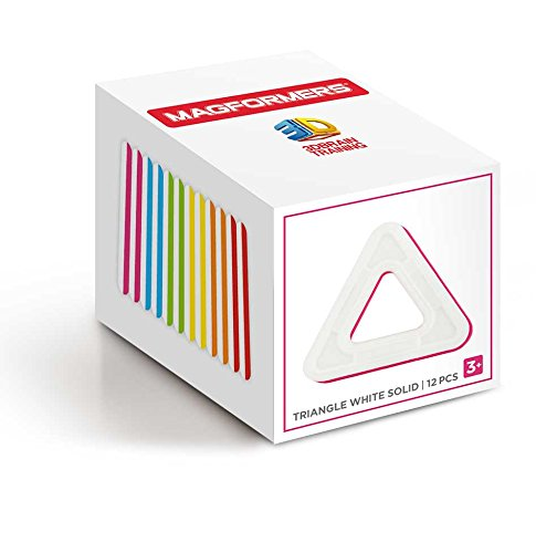 Magformers Triangle White Solid (12 Piece) Set Magnetic Building Blocks JungleDealsBlog.com
