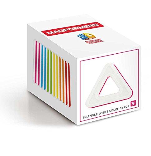 Magformers Triangle White Solid (12 Piece) Set Magnetic Building Blocks JungleDealsBlog.com