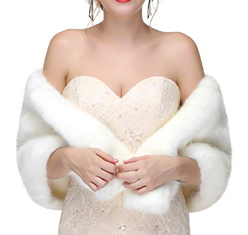 Decahome Women's Faux Fur Shawl Wraps Stole Cloak Coat Sweater Cape for Evening Party/Bridal/Wedding White Mink Fur