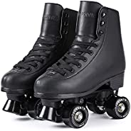 Tuosamtin Roller Skates for Women Faux Leather Retro Quad Roller Skates for Outdoor and Indoor