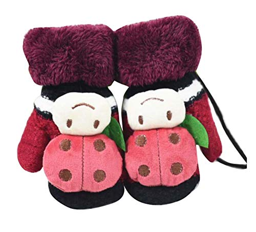 DRAGON SONIC Children Winter Cute Wool Mittens, Thick Infant Warm Gloves, Ladybug Type, B01 ()