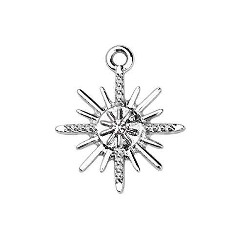 ated Silver Alloy Star with Clear Rhinestone Charms Pendants 25x21mm (1