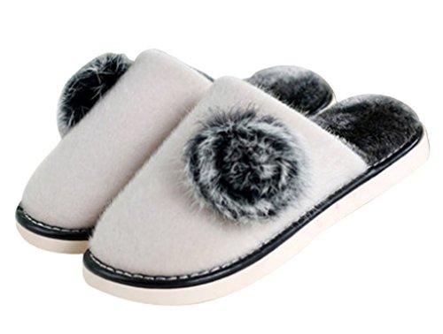 Womens Fleece Warm Indoor Huis Slaapkamer Slippers Indoor Slippers Crème Kleur