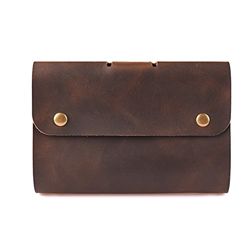 ZE Handmade Travel Leather Business Portfolio 6-Ring A6 Size Loose-Leaf Notebook (Dark Brown)
