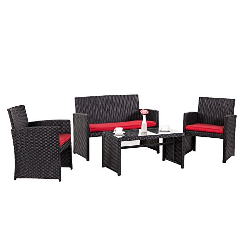 Cloud Mountain 4 Piece Wicker Outdoor Furniture Patio Conversation Set Sectional Rattan Patio Furniture Garden Lawn Sofa Cushioned Set, Black Rattan with Red Cushions