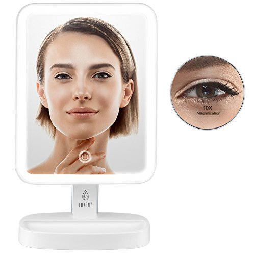 Lavany LED Illuminated Cosmetic Mirror, Lighted Makeup Mirror with 10x Magnification Vanity Mirror, Bright & Dimmable Natural Light, 180° Rotation, Battery or USB Powered
