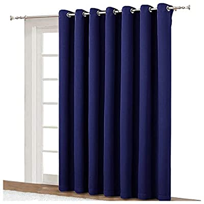 NICETOWN Blackout Curtain for Sliding Door - Patio Door Curtains, Thermal Insulated Wide Drapes/Draperies for Bedroom (Navy Blue, 100 by 84-Inch) - AMAZING FABRIC: The blackout curtain's fabric is super soft and heavy innovative triple-weave polyester fabric. Same material back as of front makes it appear more elegant. The 14 sliver grommets top (inner diameter is 1.6-inch) adds a modern touch and easy hanging. MULTIPLE FUNCTIONAL: These extra wide curtains are wide enough to covering sliding door perfectly. Besides, the curtain panel helps your patio door to block out most of light and UV ray, high performance on thermal insulated, noise reducing and privacy protecting. ENERGY SMART: Triple weave blackout fabric balances room temperature by insulating against summer heat and winter chill, reducing air conditioning costs. Protect your furniture, floors and artwork from the ravages of the sun, the Patio Door Drapes will pay for themselves off over time. - living-room-soft-furnishings, living-room, draperies-curtains-shades - 41E5ibqua%2BL. SS400  -
