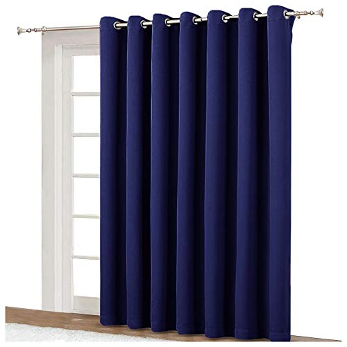 (NICETOWN Blackout Curtain for Sliding Door - Patio Door Curtains, Thermal Insulated Wide Drapes/Draperies for Bedroom (Dark Blue, 100 by 84-Inch) )