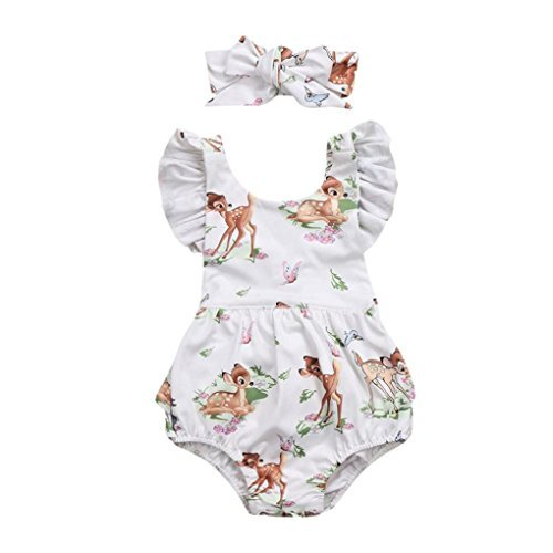 Lanhui Toddler Baby Girl Clothes Deer Romper Headband 2Pcs Set Outfit (Beige, 3Months)