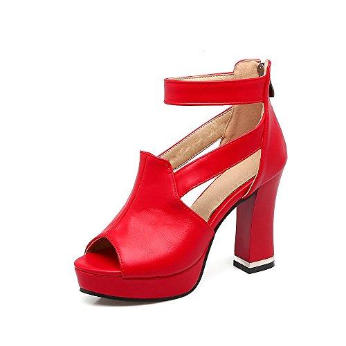 Creux Grande Haut du avec éclair Sandales de Bouche Fermeture Taille la de épais Red Poisson Femmes Talon wfz4PqBTSz