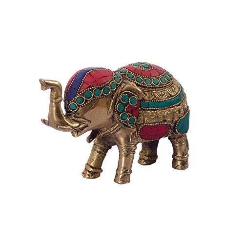 eCraftIndia Stone Studded Brass Elephant (Brass Stone Brass Simply)