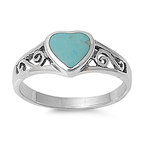 CloseoutWarehouse Simulated Turquoise Stone Infinity Swirl Heart Ring Sterling Silver Size 7 -