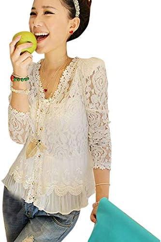 Blusa de encaje Cárdigan Camisa Camisa de crochet Manga larga Roupas Femininas Blusas blanco L: Amazon.es: Hogar