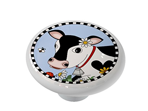 Black and White Country Cow High Gloss Ceramic Drawer Knob -