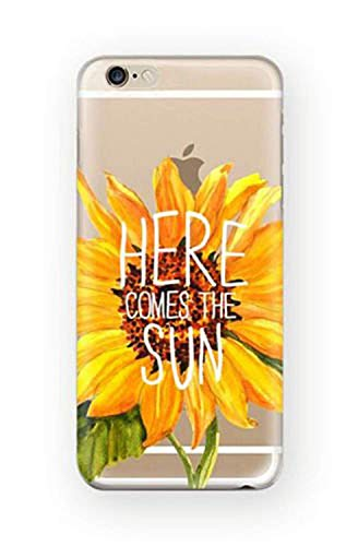 DECO FAIRY Compatible with iPhone 8 / 7, Here comes the sun Flower Sunflower Sun Flower Garden Sunshine Sunrise Bouquet Series transparent translucent flexible silicone clear cover case