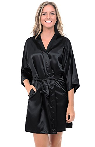 Alexander Del Rossa Womens Satin Robe, Mid-Length Dressing Gown, Medium Black (A0747BLKMD)