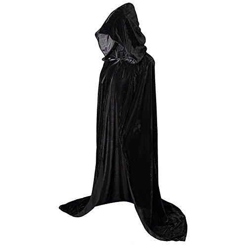 MMTTAO Halloween Velvet Cloak Black Deluxe Hooded Cloak Reversible Vampire Devil Cloak Halloween Costumes Capes for Halloween Party Cosplay Costume Cloak