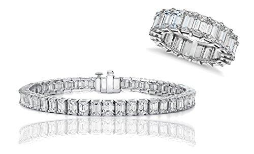 (NYC Sterling Cubic Zirconia Emerald Tennis Bracelet & Ring Set (6) )