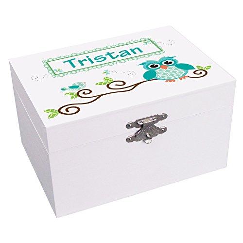 Personalized Blue Gingham Owl Ballerina Musical Jewelry Box by MyBambino
