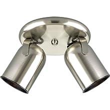 Progress Lighting P6149-09 2-Light Round Back Directional Metal Cylinder Style Light, Brushed Nickel
