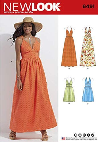 New Look Sewing Pattern D0560 // 6491 Misses' Dresses in Two Lengths with Bodice Variations Size A (10 - 12 - 14 - 16 - 18 - 20 - 22)