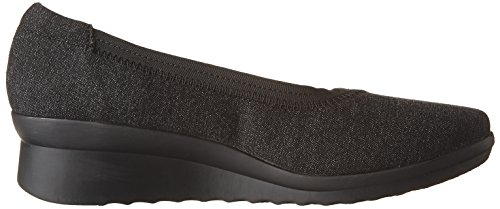 Clarks Womens Caddell Dash Wedge Pump Nero Tessile