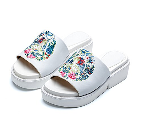 Muffin Fish Thick Ladies National 38 Slippers Mouth Embroidered Girls Shoes Women's Sandals Unknow New Bottom Trend With white Wind x1YqwH47n8