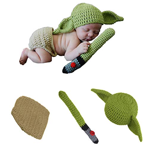 APRILALEX Newborn Infant Baby Photography Prop Crochet Knit Hat Diaper Costume Set Handmade Cap Outfits Clothes Hat for Baby Shower (Green)