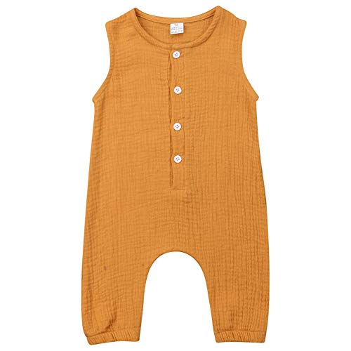 Baby Boys Girls Summer Sleeveless Romper Button Front Cotton Linen Jumpsuit Solid Color (12-18M, Yellow)