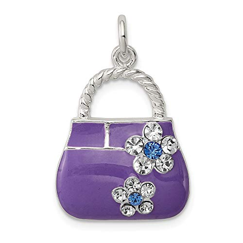 Mia Diamonds 925 Sterling Silver Purple Enameled Cubic Zirconia Purse Charm (25mm x - Enameled Purse Gold