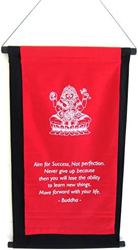 OMA Lord Ganesh Wall Hanging Tapestry Success Motivation Affirmation Scroll Banner, X Large Size Brand