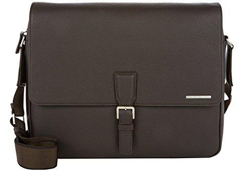 Ermenegildo Zegna Grained Leather Messenger Bag (One Size, Brown)