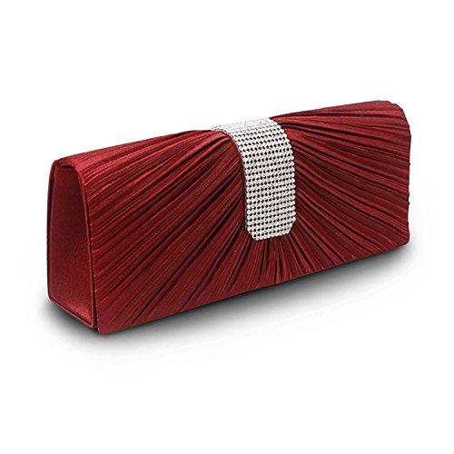 in Evening Bag Rhinestone Purse Pleated Prom Evening Bag Clutch Handbag Handbag Color Wine Red (Wine Colour)
