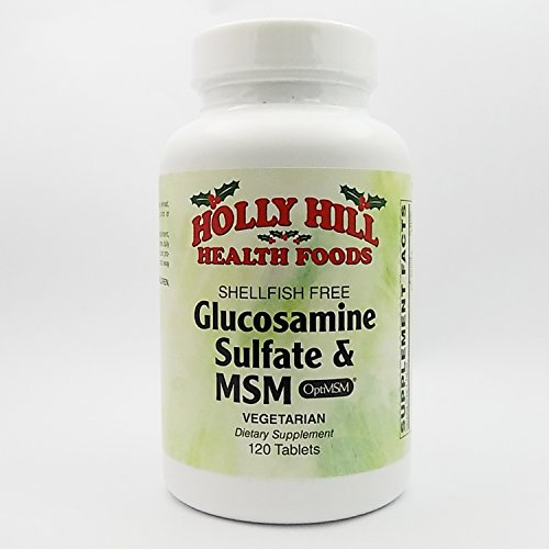 Foods Vegetarian Glucosamine - Holly Hill Health Foods, Glucosamine Sulfate and MSM (Shellfish Free), 120 Vegetarian Tablets